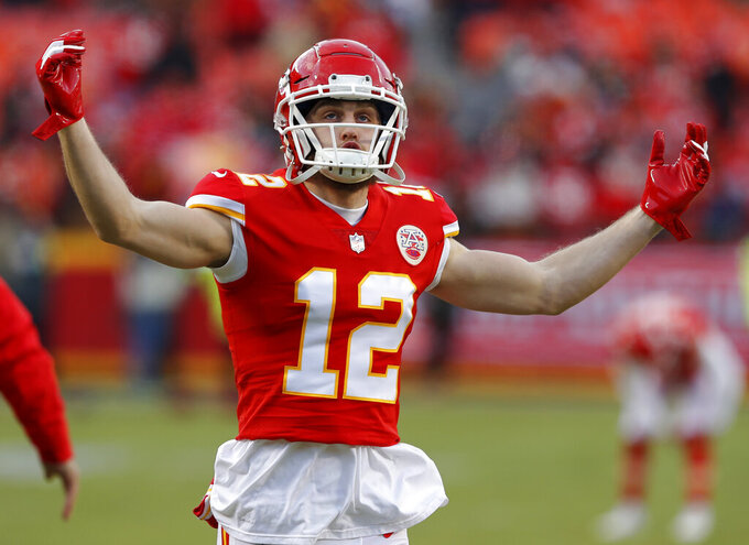 Kansas City Chiefs wide receiver Gehrig Dieter warms up before the AFC Championship NFL football game against the New England Patriots, Sunday, Jan. 20, 2019, in Kansas City, Mo. (AP Photo/Charlie Neibergall)