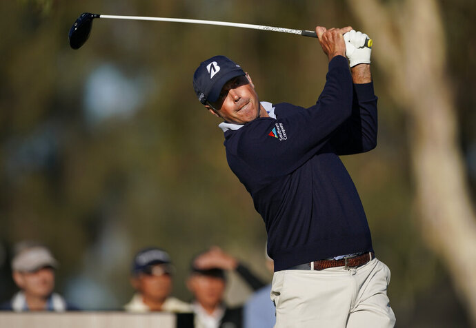 Matt Kuchar tees off on the 15th hole during the second round of the Genesis Invitational golf tournament at Riviera Country Club, Friday, Feb. 14, 2020, in the Pacific Palisades area of Los Angeles. (AP Photo/Ryan Kang)