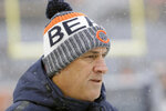 FILE - In this Dec. 24, 2017, file photo, Chicago Bears defensive coordinator Vic Fangio watches before an NFL football game against the Cleveland Browns, in Chicago. A person with knowledge of the decision tells The Associated Press that Denver Broncos general manager John Elway has decided on Chicago Bears defensive coordinator Vic Fangio as his new head coach. The person spoke on condition of anonymity Wednesday, Jan. 9, 2019, because the team hadn't announced the hiring. (AP Photo/Nam Y. Huh, File)