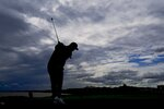Team Europe's Jon Rahm hits from the third tee during a practice day at the Ryder Cup at the Whistling Straits Golf Course Thursday, Sept. 23, 2021, in Sheboygan, Wis. (AP Photo/Charlie Neibergall)
