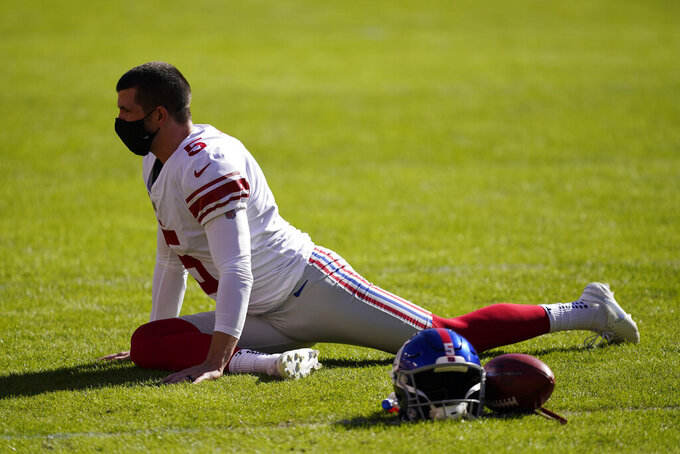 New York Giants kicker Graham Gano (5) stretches before the start of an NFL football game against the Washington Football Team, Sunday, Nov. 8, 2020, in Landover, Md. (AP Photo/Al Drago)