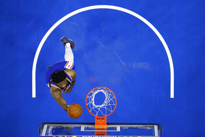 Philadelphia 76ers' Joel Embiid goes up for a shot during the first half of an NBA basketball game against the Charlotte Hornets, Monday, Jan. 4, 2021, in Philadelphia. (AP Photo/Matt Slocum)