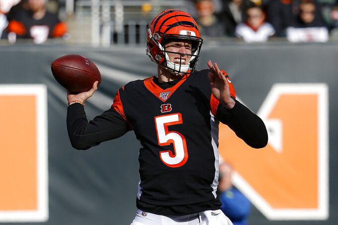 Cincinnati Bengals quarterback Ryan Finley passes during the first half an NFL football game against the Pittsburgh Steelers, Sunday, Nov. 24, 2019, in Cincinnati. (AP Photo/Frank Victores)