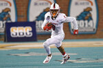 South Alabama's Damari Kelly runs after a reception during the second half of an NCAA college football game against South Alabama, Saturday, Nov. 7, 2020, in Conway, S.C. (AP Photo/Richard Shiro)