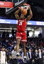 Wisconsin guard Khalil Iverson dunks against Northwestern during the first half of an NCAA college basketball game Saturday, Feb. 23, 2019, in Evanston, Ill. (AP Photo/Nam Y. Huh)
