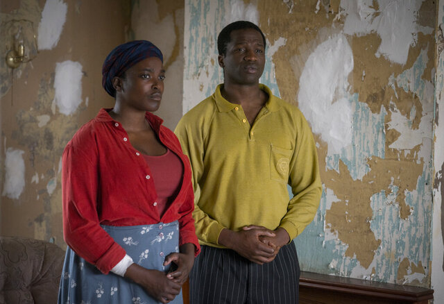 This image released by Netflix shows Wunmi Mosaku as Rial Majur, left, and Ṣọpẹ Dìrísù as Bol Majur in a scene from