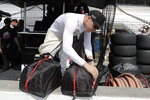 Spencer Pigot looks in his helmet case during practice for the Indianapolis 500 IndyCar auto race at Indianapolis Motor Speedway, Friday, May 17, 2019 in Indianapolis. (AP Photo/Darron Cummings)