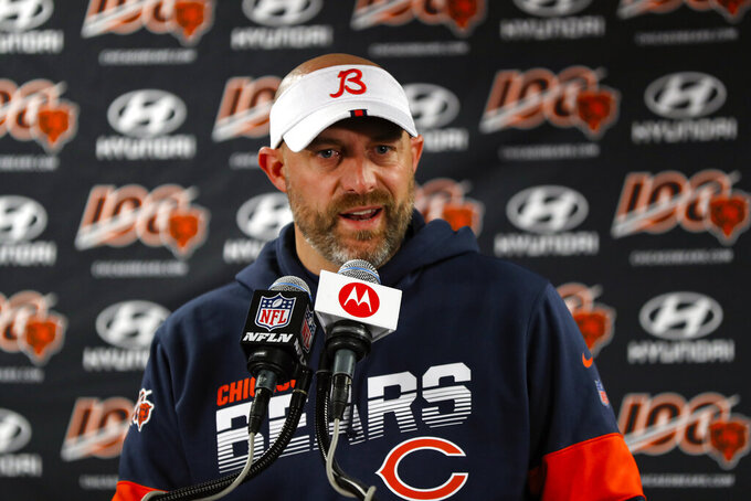 FILE - In this Nov. 24, 2019, file photo, Chicago Bears head coach Matt Nagy speaks during a news conference following an NFL football game against the New York Giants in Chicago. The NFL Draft is April 23-25, 2020.  (AP Photo/Paul Sancya, File)