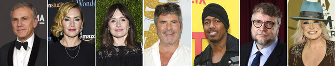 This combination photo of celebrities with birthdays from Oct. 4 - Oct. 10 shows, from left, Christoph Waltz, Kate Winslet, Emily Mortimer, Simon Cowell, Nick Cannon, Guillermo del Toro and Tanya Tucker. (AP Photo)