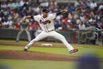 Atlanta Braves starting pitcher Charlie Morton delivers to the Los Angeles Dodgers in the first inning of a baseball game Saturday, June 5, 2021, in Atlanta. (AP Photo/Brynn Anderson)