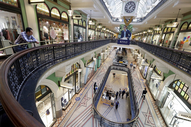 A shopping center is sparsely attended in Sydney, Wednesday, Sept. 2, 2020. Australia's economy has suffered its sharpest quarterly drop since the Great Depression because of the pandemic, with data released on Wednesday confirming the country is experiencing its first recession in 28 years. (AP Photo/Rick Rycroft)