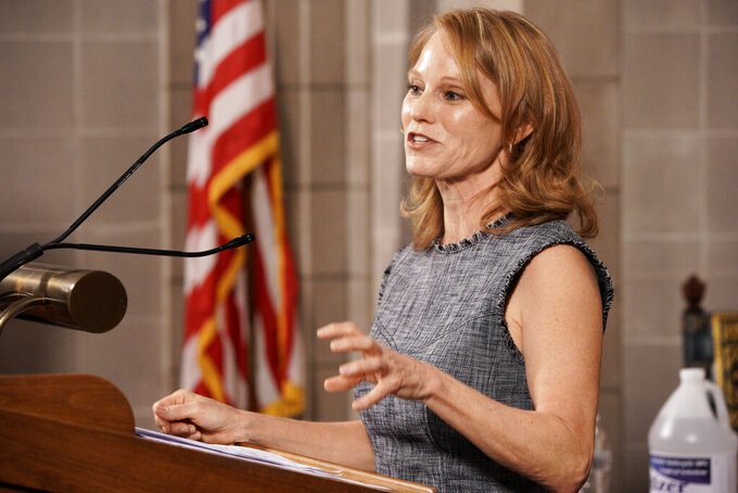 Nebraska first lady Susanne Shore discusses the Nebraska Impact COVID-19 Relief Fund at a news conference in Lincoln, Neb., Thursday, April 2, 2020. The fund's purpose is to mitigate the impact of the coronavirus outbreak across Nebraska. (AP Photo/Nati Harnik)