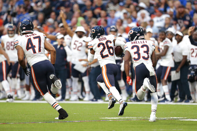 Chicago Bears dDeefensive back on Bush (26) runs back an interception for a touchdown during the first half of the team's NFL preseason football game against the Indianapolis Colts, Saturday, Aug. 24, 2019, in Indianapolis. (AP Photo/AJ Mast)
