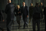 Acting US Defense Secretary Patrick Shanahan, centre, arrives for a meeting of NATO defense ministers at NATO headquarters in Brussels, Wednesday, Feb. 13, 2019. (AP Photo/Francisco Seco)