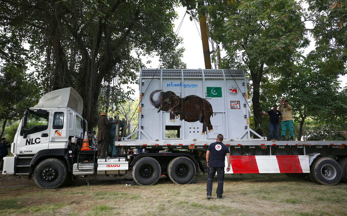 Pakistani wildlife workers and experts from the international animal welfare organization Four Paws load a crate carrying an elephant named Kaavan into a truck to begin his journey to a sanctuary in Cambodia, at the Marghazar Zoo in Islamabad, Pakistan, Sunday, Nov. 29, 2020. Kavaan, the world's loneliest elephant, who became a cause celebre in part because America's iconic singer and actress Cher joined the battle to save him from his desperate conditions at the zoo. (AP Photo/Anjum Naveed)