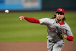 Cincinnati Reds starting pitcher Luis Castillo throws during the first inning of a baseball game against the St. Louis Cardinals Friday, Sept. 11, 2020, in St. Louis. (AP Photo/Jeff Roberson)
