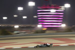 Mercedes driver Valtteri Bottas of Finland steers his car during the second free practice at the Formula One Bahrain International Circuit in Sakhir, Bahrain, Friday, March 26, 2021. The Bahrain Formula One Grand Prix will take place on Sunday. (AP Photo/Kamran Jebreili)