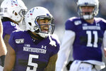 Northwestern wide receiver Jace James (5) celebrates after catching a touchdown pass during the first half of an NCAA college football game against Purdue, Saturday, Nov. 9, 2019, in Evanston, Ill. (AP Photo/Paul Beaty)