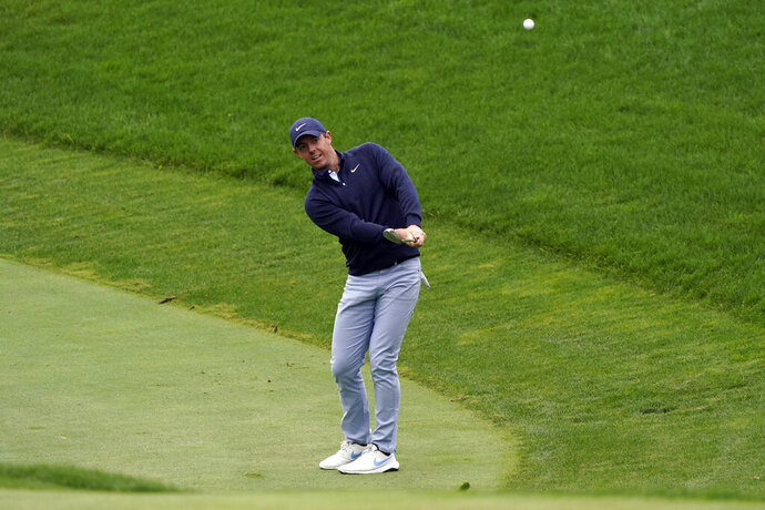 Rory McIlroy hits from the 10th fairway during the second round of the Zozo Championship golf tournament Friday, Oct. 23, 2020, in Thousand Oaks, Calif. (AP Photo/Marcio Jose Sanchez)