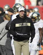 FILE - In this Saturday, Nov. 24, 2018, file photo, Purdue head coach Jeff Brohm watches during the second half of an NCAA college football game against Indiana, in Bloomington, Ind. Brohm likes what he sees at Purdue.  The offense can rely on an experienced quarterback and a game-breaking receiver. The defense can build around a stout defensive line and some playmaking linebackers. There's even a manageable schedule. (AP Photo/Darron Cummings, File)