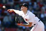 Boston Red Sox's Tanner Houck pitches during the first inning of a baseball game against the Cleveland Indians, Saturday, Sept. 4, 2021, in Boston. (AP Photo/Michael Dwyer)