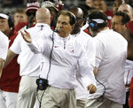 Alabama head coach Nick Saban reacts during the first half the NCAA college football playoff championship game against Clemson, Monday, Jan. 7, 2019, in Santa Clara, Calif. (AP Photo/Chris Carlson)