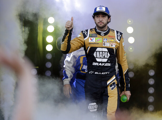 Chase Elliott is introduced for the NASCAR All-Star Race at Charlotte Motor Speedway in Concord, N.C., Saturday, May 18, 2019. (AP Photo/Chuck Burton)