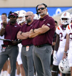 Virginia Tech head coach Justin Fuentes stands on the sideline in the second half of an NCAA college football game against Middle Tennessee, Saturday, Sept. 11, 2021, in Blacksburg Va. (AP Photo/Matt Gentry)