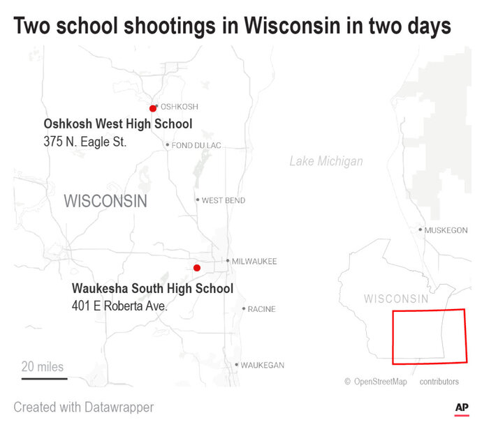 Police say there's been another shooting at a Wisconsin high school in which an armed student was confronted by a police officer.;