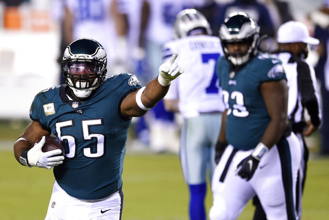 Philadelphia Eagles' Brandon Graham (55) reacts after forcing a fumble by Dallas Cowboys' Ben DiNucci during the first half of an NFL football game, Sunday, Nov. 1, 2020, in Philadelphia. (AP Photo/Derik Hamilton)