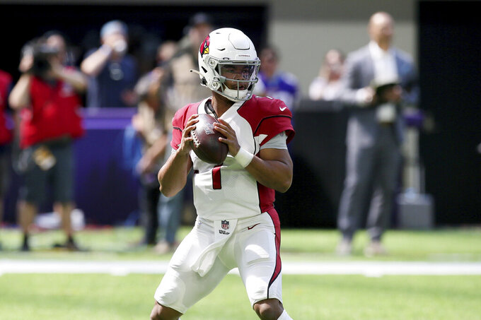 Arizona Cardinals quarterback Kyler Murray throws a pass during the first half of an NFL preseason football game against the Minnesota Vikings, Saturday, Aug. 24, 2019, in Minneapolis. (AP Photo/Jim Mone)