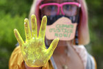 An environmental activist wearing a mask to curb the spread of the coronavirus shows her painted hand during a rally to coincide with global protests on climate change in Quezon City, Philippines on Friday Sept. 25, 2020. The group held the rally called