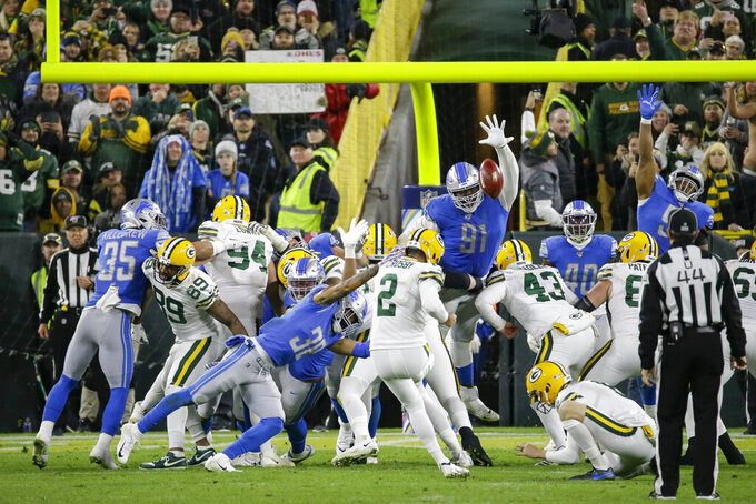 Green Bay Packers kicker Mason Crosby kicks the game-winning field goal in the final seconds of an NFL football game against the Detroit Lions, Monday, Oct. 14, 2019, in Green Bay, Wis. Green Bay won 23-22. (AP Photo/Mike Roemer)