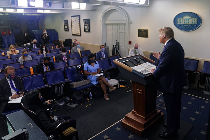 President Donald Trump speaks during a news conference at the White House, Tuesday, July 21, 2020, in Washington. (AP Photo/Evan Vucci)