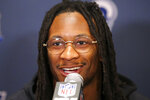 FILE - In this Jan. 31, 2019, file photo, Los Angeles Rams running back Todd Gurley speaks to reporters during a press availability ahead of the NFL Super Bowl 53 football game against the New England Patriots in Atlanta. Todd Gurley will be making a homecoming to the state of Georgia when  the former Georgia Bulldogs standout begins the second phase of his NFL career with the Atlanta Falcons. Gurley, who was cut by the Rams, is expected to talk on Tuesday, April 7, 2020, about the one-year deal with the Falcons that was announced by the team on Monday. (AP Photo/John Bazemore, File)