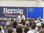 Sen. Bernie Sanders, I-Vt., talks to several hundred people while campaigning for president at a town hall meeting at the Carson City Convention Center, Friday, Sept. 13, 2019, in Carson City, Nev. He said former Vice President Joe Biden is distorting Sanders'