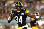 FILE - In this Aug. 9, 2018, file photo, Pittsburgh Steelers safety Terrell Edmunds is shown during an NFL preseason football game against Philadelphia Eagles, in Philadelphia. Ferrell and Felicia Edmunds can't lose. Nor can they be prouder when the Pittsburgh Steelers host the Buffalo Bills on Sunday night, Dec. 15. It's a game that will feature all three of the Edmunds' sons _ the Steelers' Terrell and Trey Edmunds and the Bills' Tremaine _ facing off against each other. (AP Photo/Winslow Townson, File)