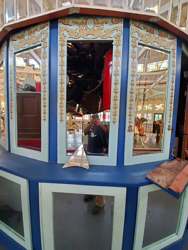 This Oct. 4, 2020, photo provided by New Orleans City Park shows a broken antique mirror that's on a carousel at Carousel Gardens Amusement Park in New Orleans. Officials say vandals broke into the amusement park over the weekend and went on a rampage, causing $10,000 worth of damage. (Waymon Morris/New Orleans City Park via AP)