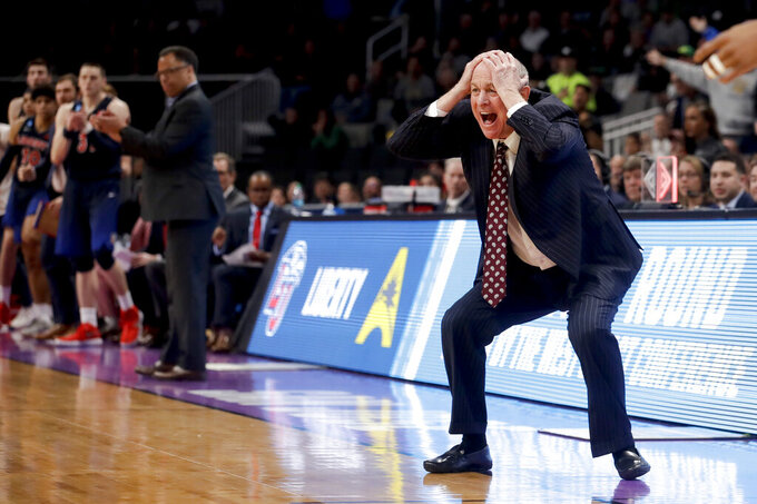 Mississippi State coach Ben Howland reacts during the second half of the team's first=round game against Liberty in the NCAA men's college basketball tournament Friday, March 22, 2019, in San Jose, Calif. (AP Photo/Jeff Chiu)