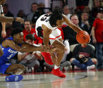 Georgia forward Nicolas Claxton (33) and Kentucky guard Immanuel Quickley (5) battle for the ball during the first half of an NCAA college basketball game Tuesday, Jan. 15, 2019, in Athens, Ga. (AP Photo/John Bazemore)