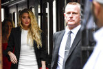 Amber Heard arrives at High Court, in London, Monday, July 27, 2020. Hollywood actor Johnny Depp is suing News Group Newspapers over a story about his former wife Amber Heard, published in The Sun in 2018 which branded him a 'wife beater', a claim he denies. (AP Photo/Alberto Pezzali)