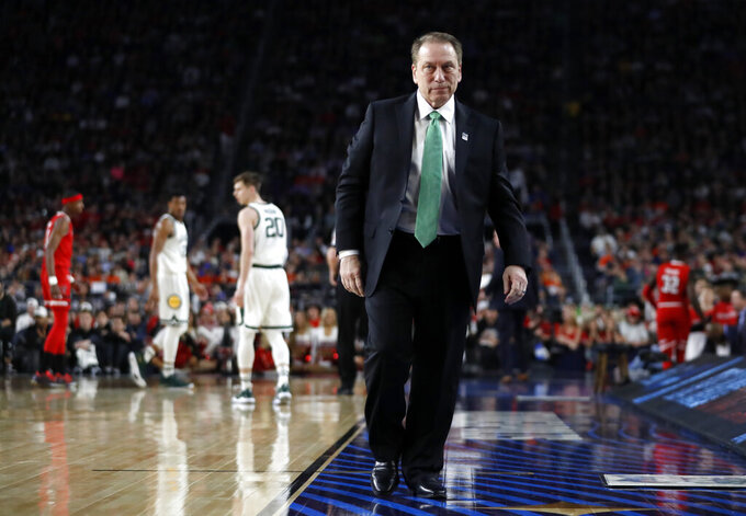 Michigan State head coach Tom Izzo watches during the first half in the semifinals of the Final Four NCAA college basketball tournament against the Texas Tech, Saturday, April 6, 2019, in Minneapolis. (AP Photo/Jeff Roberson)