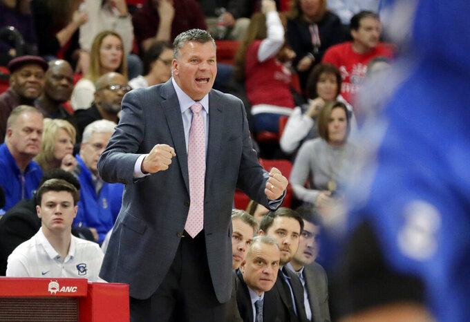 Creighton head coach Greg McDermott reacts during the first half of an NCAA college basketball game against St. John's Wednesday, Jan. 16, 2019, in New York. (AP Photo/Frank Franklin II)