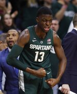 Michigan State forward Gabe Brown reacts during the closing seconds of the second half of an NCAA college basketball game against Nebraska, Tuesday, March 5, 2019, in East Lansing, Mich. (AP Photo/Carlos Osorio)