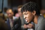 Ja Morant, a sophomore basketball player from Murray State, attends the NBA Draft media availability, Wednesday, June 19, 2019,  in New York. The draft will be held Thursday, June 20. (AP Photo/Mark Lennihan)