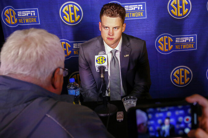 LSU quarterback Joe Burrow speaks during the NCAA college football Southeastern Conference Media Days, Monday, July 15, 2019, in Hoover, Ala. (AP Photo/Butch Dill)