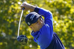 Justin Thomas, of the United States, plays his shot from the second tee during the third round of the US Open Golf Championship, Saturday, Sept. 19, 2020, in Mamaroneck, N.Y. (AP Photo/Charles Krupa)