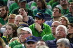 Notre Dame fans watch play against Clemson late in the second half of the NCAA Cotton Bowl semi-final playoff football game, Saturday, Dec. 29, 2018, in Arlington, Texas. (AP Photo/Michael Ainsworth)