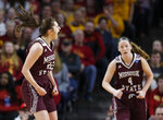Missouri State guard Alexa Willard, left, celebrates a 3-point basket during the first half of a second-round women's college basketball game against Iowa State in the NCAA Tournament, Monday, March 25, 2019, in Ames, Iowa. (AP Photo/Matthew Putney)