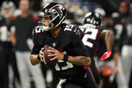 Atlanta Falcons quarterback Feleipe Franks (15) runs out of the pocket against the Cleveland Browns during the first half of a preseason NFL football game, Sunday, Aug. 29, 2021, in Atlanta. (AP Photo/Brynn Anderson)